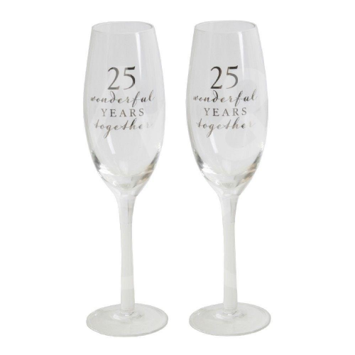 Amore Champagne Flutes Set of 2 - 25th Anniversary